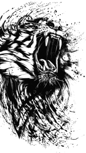 A roaring tiger artistically done in black and white using an ink splash look.