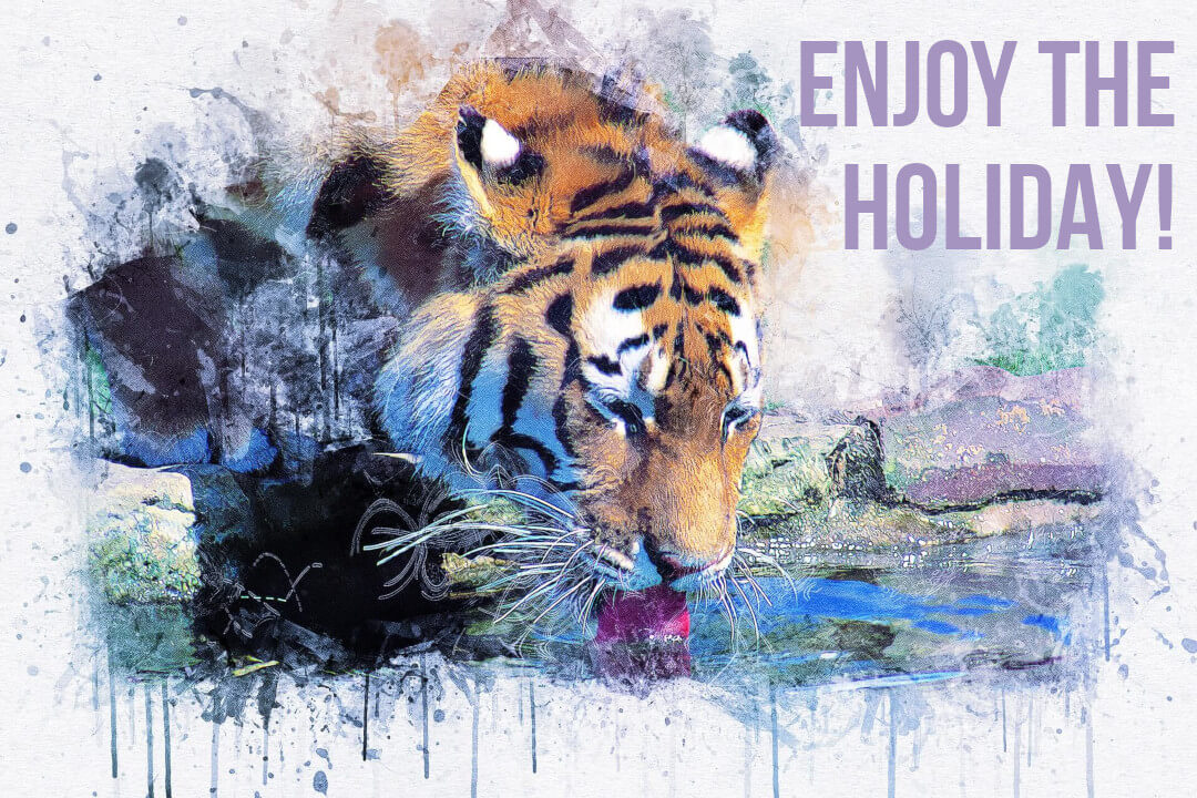Tiger drinking art with text